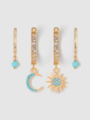 Tess + Tricia Huggie Turquoise Star & Moon Earring Set