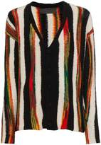 The Elder Statesman cashmere broken stripe cardigan