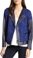 Rebecca Taylor Women's Floral Jacquard & Leather Moto Jacket
