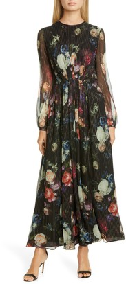 Adam Lippes Metallic Floral Long Sleeve Silk Blend Maxi Dress