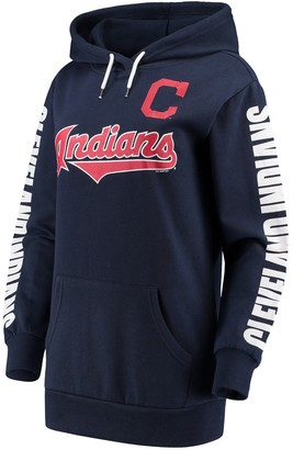 G Iii Women's G-III 4Her by Carl Banks Navy Cleveland Indians Extra Innings Pullover Hoodie