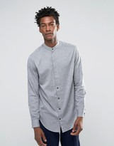 Selected Grandad Shirt with curved hem