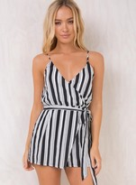 MinkPink Stripe Wrap Playsuit