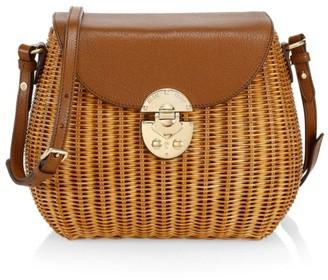 Miu Miu Midollino Leather & Wicker Shoulder Bag