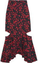 Givenchy Cutout Ruffled Midi Skirt In Floral-print Stretch-satin - Red