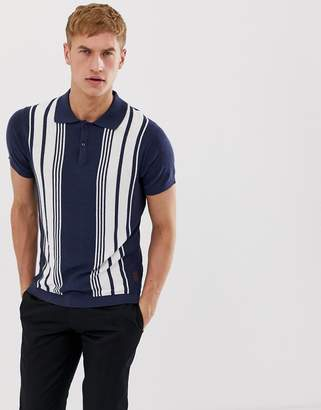 Jack and Jones linen stripe knitted polo in navy