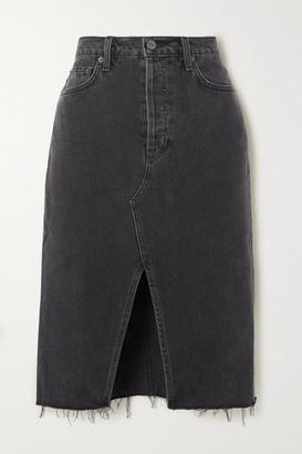 Reformation Net Sustain Distressed Denim Skirt - Dark gray