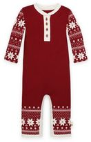 Burt's Bees Baby Size 3-6M Snowflake Thermal Coverall in Red