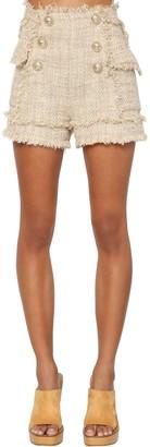 Balmain High Waist Cotton Blend Tweed Shorts
