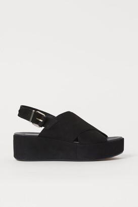 H&M Suede Platform Sandals - Black
