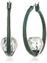 "Robert Lee Morris Patina Colada"" Wire Wrapped Faceted Stone Hoop Earrings"