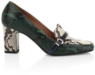 Tabitha Simmons Nancy Python-Embossed Leather Loafer Pumps