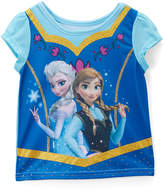 Children's Apparel Network Frozen Elsa & Anna Blue Cap-Sleeve Tee - Toddler