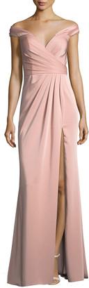 Faviana Off-the-Shoulder Column Faille Satin Evening Gown