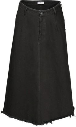 Balenciaga High Waist Cotton Denim Midi Skirt