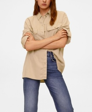 MANGO Women's Pockets Flowy Shirt