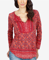 Lucky Brand Mixed-Print Peasant Top