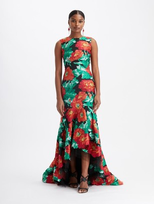 Oscar de la Renta Fil Coupe High-Low Gown
