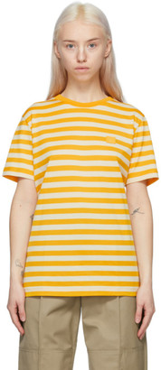 Acne Studios Yellow Striped Logo T-Shirt