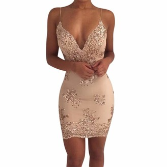 WUDUBE Sexy Womens Fashion Sequin Lace Camisole Backless Party Flapper Cocktail Black Beige Clothing for Ladies Going Out Novelty Swing Prom Dress