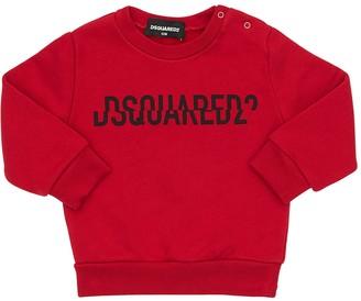 DSQUARED2 Split Logo Printed Cotton Sweatshirt