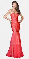 La Femme Strapless Ruched Mermaid Sequin Lined Prom Dresses