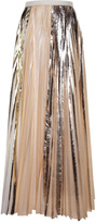 Proenza Schouler Silver Foil Print Pleated Cloque Pleated Long Skirt