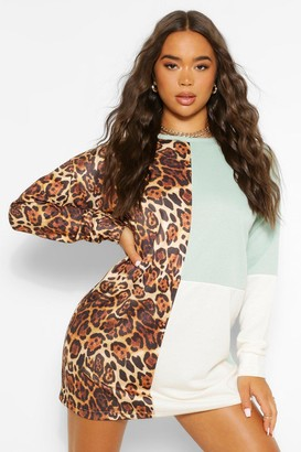 boohoo Animal Print Colour Block Sweat Dress