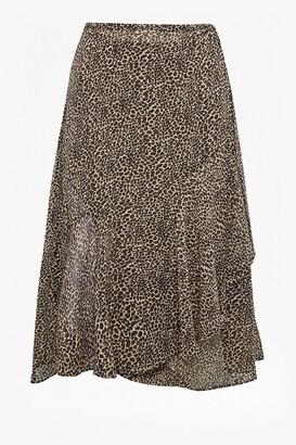 French Connection Animal Print Wrap Midi Skirt