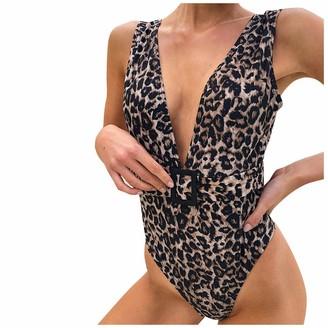 TIFIY Womens Leopard Print Push Up Bikini Sets Deep V Neck One Piece Swimsuit Swimwear for Ladies Brown Beachwear