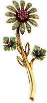 Vintage Synthetic Ruby & Enamel Flower Brooch Pin