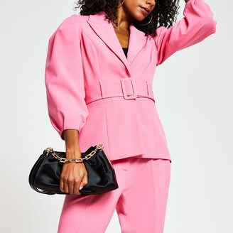 River Island Womens Pink belted bell puff sleeve blazer