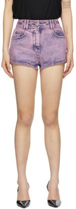 Balmain Pink Denim Acid Wash Shorts