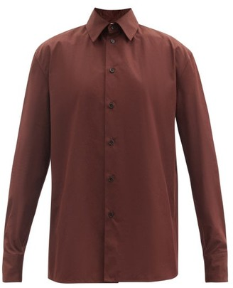 Jil Sander Point-collar Cotton-poplin Shirt - Dark Brown