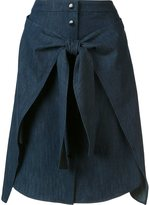 Rag & Bone front tie denim skirt - women - Silk/Cotton - 0