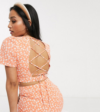Fashion Union Petite crop top with lace up back in floral two-piece