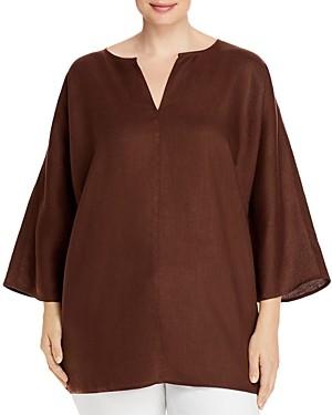 Eileen Fisher, Plus Size Organic Linen Split Neck Tunic