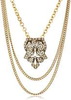 Yochi Gold-Plated Art Deco Statement Necklace, 27""