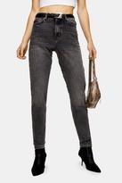 Topshop Washed Black Rip Hem Mom Jeans