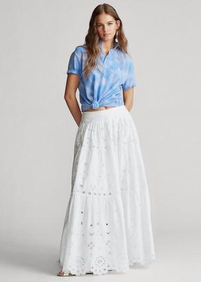 Ralph Lauren Eyelet Tiered Poplin Skirt