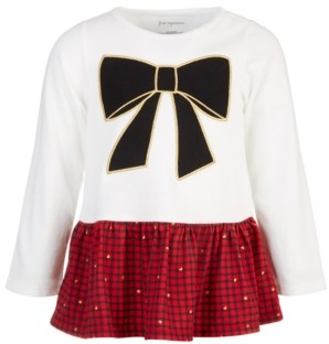 First Impressions Baby Girls Holiday Bow Plaid Peplum, Created for Macy's