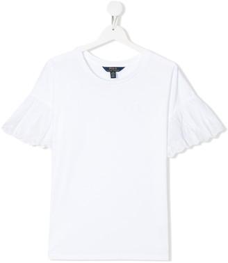 Ralph Lauren Kids TEEN eyelet ruffle-sleeve T-shirt