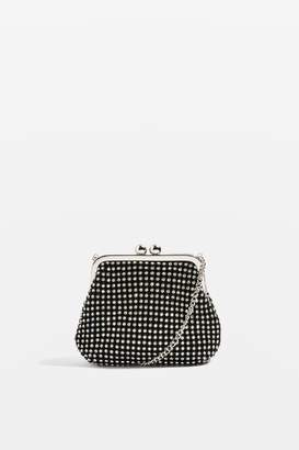Topshop Womens Taz Diamante Frame Purse - Silver