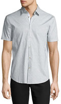 John Varvatos Dot-Print Slim-Fit Short-Sleeve Sport Shirt, Gray