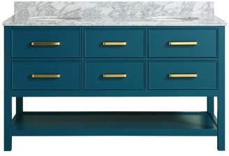 """M.O.D. Louella Blue Bathroom Vanity With Marble Top, 60"""""""