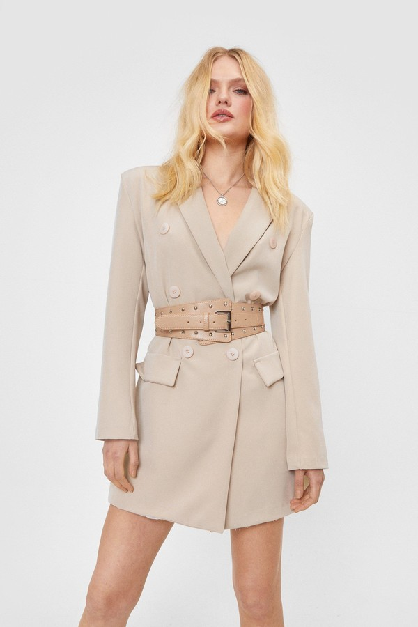 Nasty Gal Womens Studded Oversized Faux Leather Belt - Beige - One Size