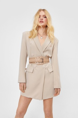Nasty Gal Womens Stud Riddance Oversized Faux Leather Belt - Beige - One Size
