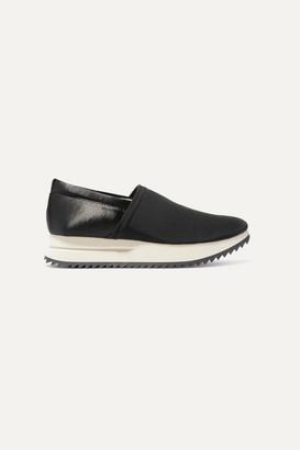 Pedro Garcia Otylia Faille And Satin Slip-on Sneakers - Black