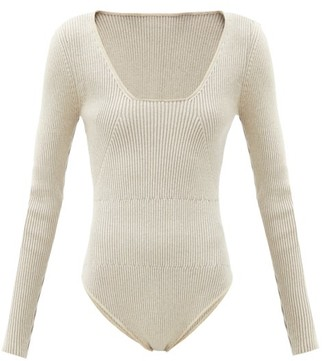 Jacquemus Adour Scoop-neck Ribbed-knit Bodysuit - Light Beige