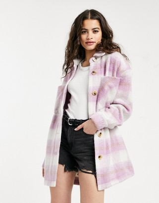 Pieces oversized shacket in lilac check
